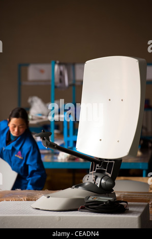 Mobile satellite dish technological industry, Hebei, Province of Hebei, China, Asia. - Stock Photo