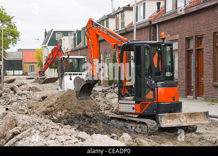 Breaking up the street to renew the sewerage - horizontal image - Stock Photo