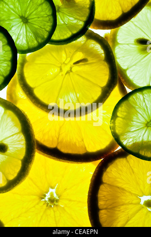 slices of oranges, lemons, and limes - Stock Photo