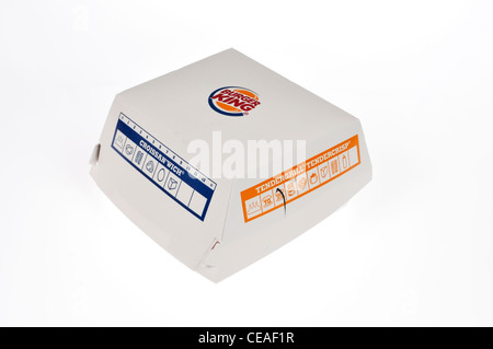 Burger King tendercrisp chicken sandwich in packaging box on white background cutout USA - Stock Photo