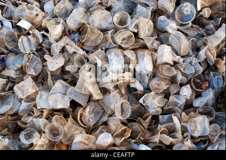 Discarded plastic tea cups in the Indian countryside. Andhra Pradesh, India Stock Photo