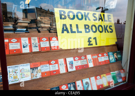 Shop window of a second-hand bookshop in Greenwich, South London. - Stock Photo