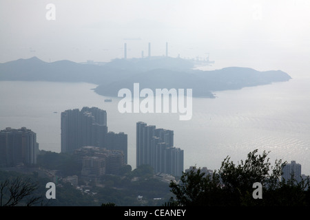 View over the South China sea towards Lantau from the garden of the governor's summer residence Victoria Peak Hong - Stock Photo