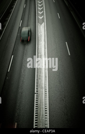 One car on a Freeway - Stock Photo