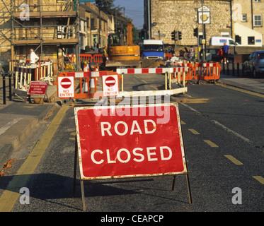 road closed warning sign on high street in Sherburn Yorkshire UK - Stock Photo