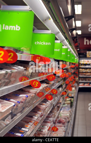 meat on sale in a supermarket at bargain prices - Stock Photo
