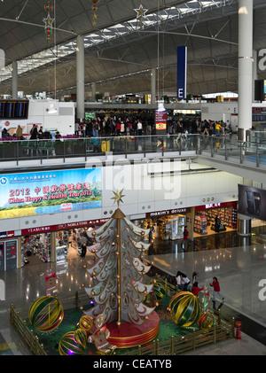dh Hong Kong Airport CHEK LAP KOK HONG KONG Hong Kong International Airport Terminal 1 departures Christmas - Stock Photo