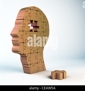 A male head build out of puzzle pieces - Stock Photo