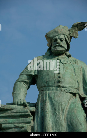 Hungary, Budapest, Pest. Historic Heroes Square (aka Hosok tere), statue. - Stock Photo