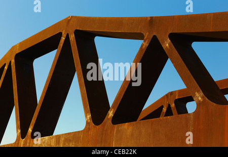 Detail of a bridge construction for the AVE train. Madrid. Spain - Stock Photo