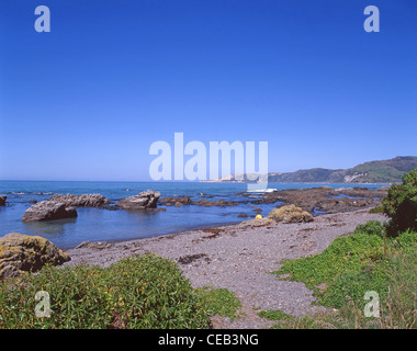 View of beach and coast, Kaikoura, Canterbury, South Island, New Zealand - Stock Photo
