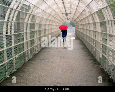walkway over highway in Brooklyn NYC - Stock Photo