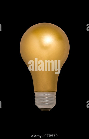 Gold Light Bulb Floating Against a Black Background - Stock Photo