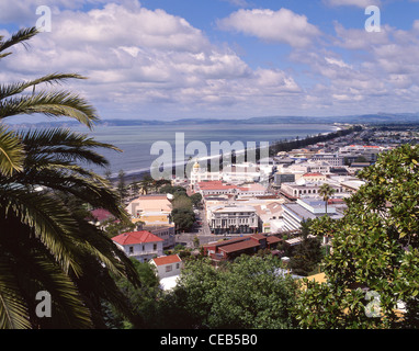 City seafront and Hawke Bay, Napier, Hawke's Bay Region, New Zealand - Stock Photo
