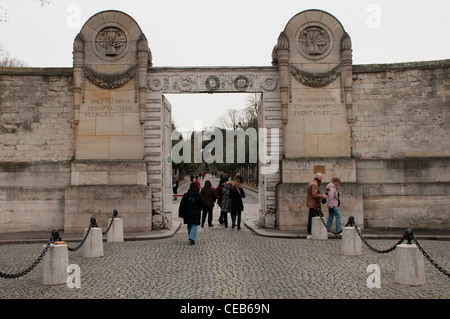 The entrance of Père Lachaise Cemetery in Paris - Stock Photo
