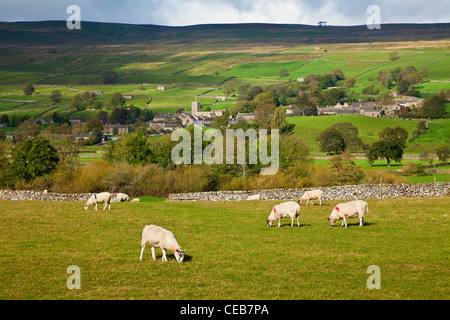 Askrigg village in Wensleydale, in the Yorkshire Dales. - Stock Photo