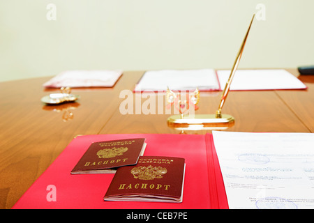 Table marriage with Russian passports