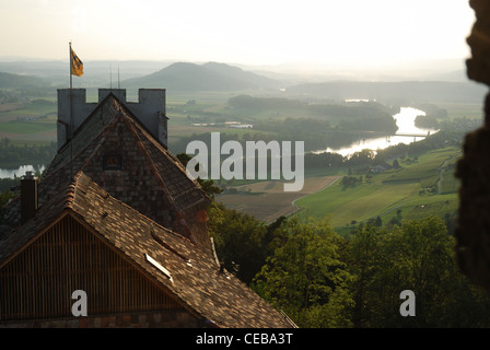 High Rhine from medieval castle in the vicinity of Stein am Rhein. - Stock Photo
