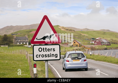 Whiteness, Shetland Islands, Scotland, UK. Road sign warning otters crossing on a main road near a sea loch on the - Stock Photo