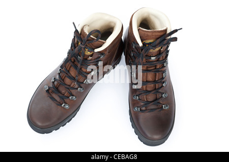 One pair of ladies traditional new brown leather hiking or walking boots by Meindl from front isolated on a white - Stock Photo