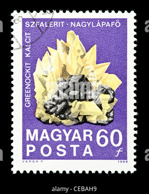 Postage stamp from Hungary depicting Greenockit calcite sphalerite crystal (Hungarian State Institute for Geology - Stock Photo