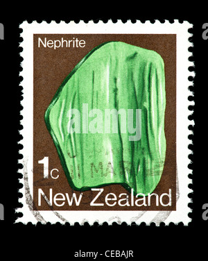 Postage stamp from New Zealand depicting nephrite crystals - Stock Photo