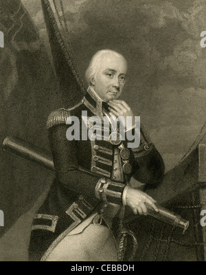 1830 engraving of Vice Admiral Cuthbert Collingwood, 1st Baron Collingwood. - Stock Photo