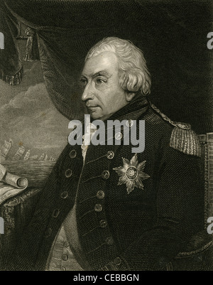 1830 engraving of Admiral of the Fleet John Jervis, 1st Earl of St Vincent. - Stock Photo