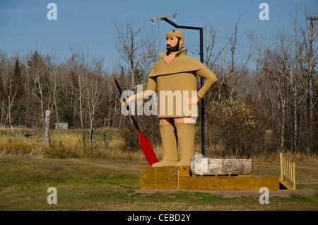 Statue of Pierre the Voyageur in Two Harbors, Minnesota in the North Shore area - Stock Photo