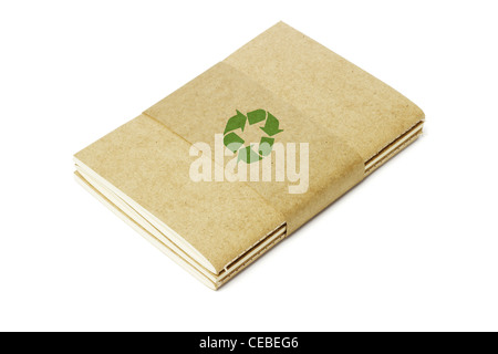 Thread Sew Books of Recycled Papers on White Background - Stock Photo