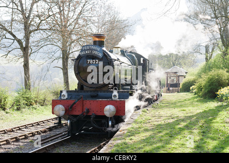 A steam locomotive on the Llangollen Railway - Stock Photo