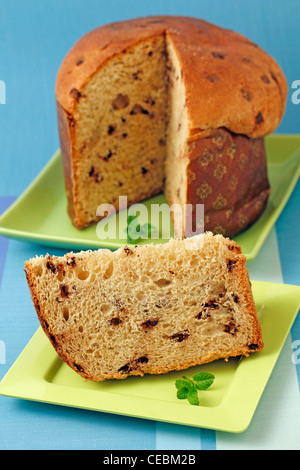 Panettone with chocolate . Recipe available. - Stock Photo