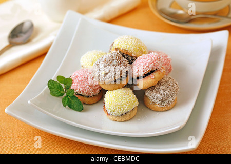 Three colours cookies. Recipe available. - Stock Photo