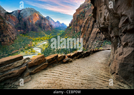 Angel's Landing trail and view of zion valley. Zion National Park, Utah - Stock Photo