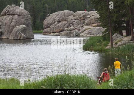 Sylvan Lake Black Hills Custer State Park South Dakota in USA - Stock Photo