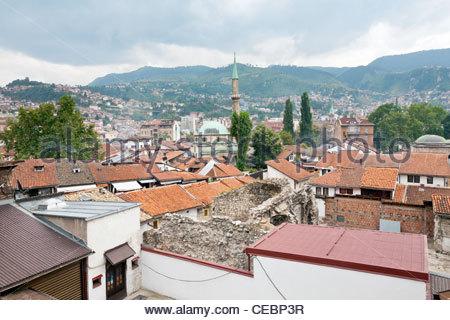 View of Sarajevo old town and Gazi Husrev-bey Mosque, Sarajevo, Bosnia and Herzegovina, Europe - Stock Photo