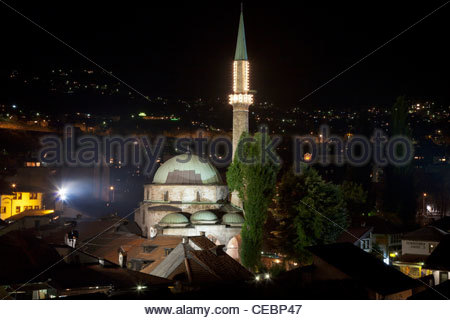 The Gazi Husrev-bey Mosque at night, Sarajevo, Bosnia and Herzegovina, Europe - Stock Photo
