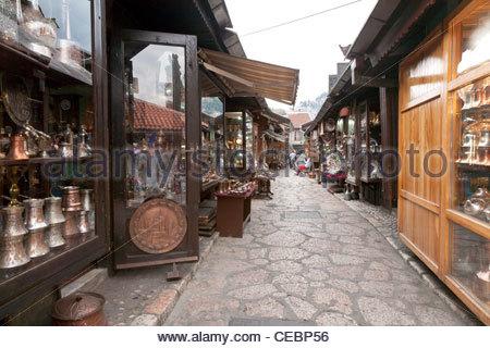 Bascarsija Bazaar, Sarajevo, Bosnia and Herzegovina, Europe - Stock Photo