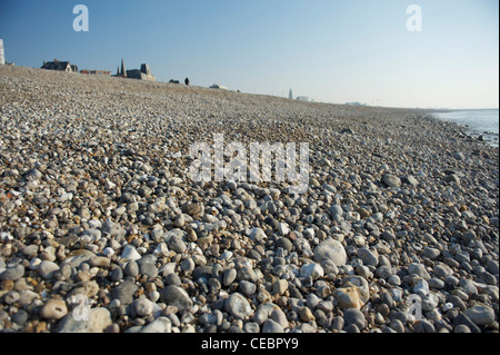 The pebble beach of Le Havre on the Seine estuary in Normandy, France