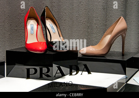 Prada Store Paris Avenue Montaigne high fashion designer couturier France - Stock Photo