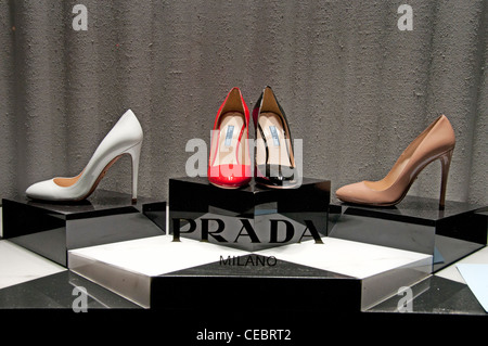 Prada Store Paris Avenue Montaigne high fashion designer couturier France - Stock Photo