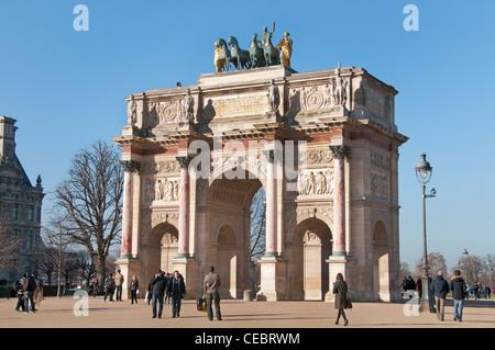 Arc de Triomphe du Carrousel  Tuileries Museum Musee du Louvre Paris France - Stock Photo