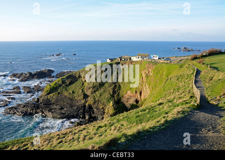 Lizard Point in Cornwall, the most southerly place in England - Stock Photo