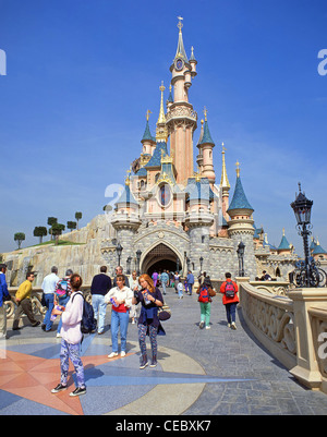 Sleeping Beauty Castle, Fantasyland, Disneyland Paris theme park, Marne-la-Vallée, Île-de-France, France - Stock Photo