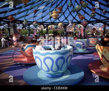 Mad Hatter's Tea Cups ride in Fantasyland, Disneyland Paris theme park, Marne-la-Vallée, Île-de-France, France - Stock Photo