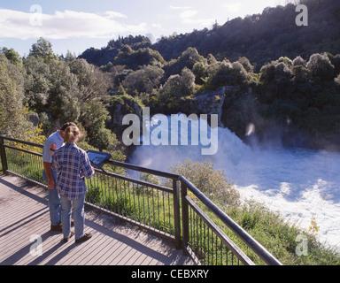 Huka Falls from observation point, near Taupo, Waikato Region, North Island, New Zealand - Stock Photo
