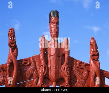 Maori carvings, Te Tii Marae, Te Tii Bay, Waitangi, Bay of Islands, Northland Region, North Island, New Zealand - Stock Photo