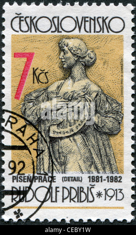 CZECHOSLOVAKIA - CIRCA 1982: A stamp printed in the Czechoslovakia, shown Peaceful Work by Rudolf Pribis, circa - Stock Photo