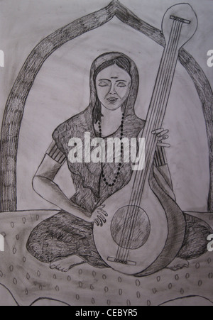 indian lady singing, pencil drawing - Stock Photo
