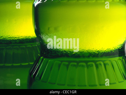 Bottles of olive oil, extreme close-up - Stock Photo